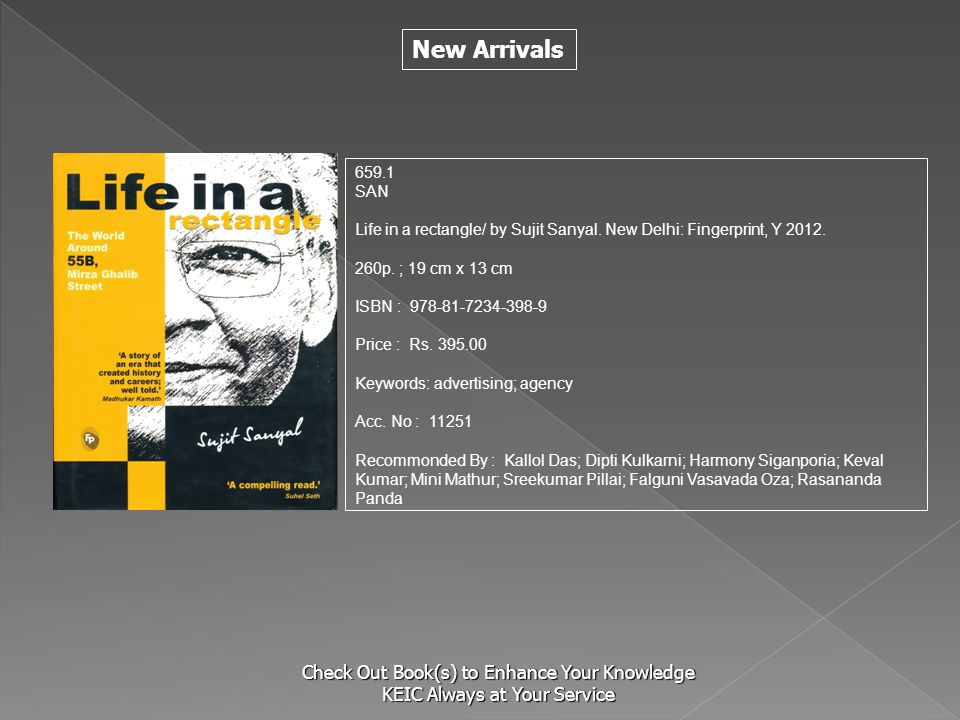New Arrivals Check Out Book(s) to Enhance Your Knowledge KEIC Always at Your Service 659.1 SAN Life in a rectangle/ by Sujit Sanyal. New Delhi: Finger