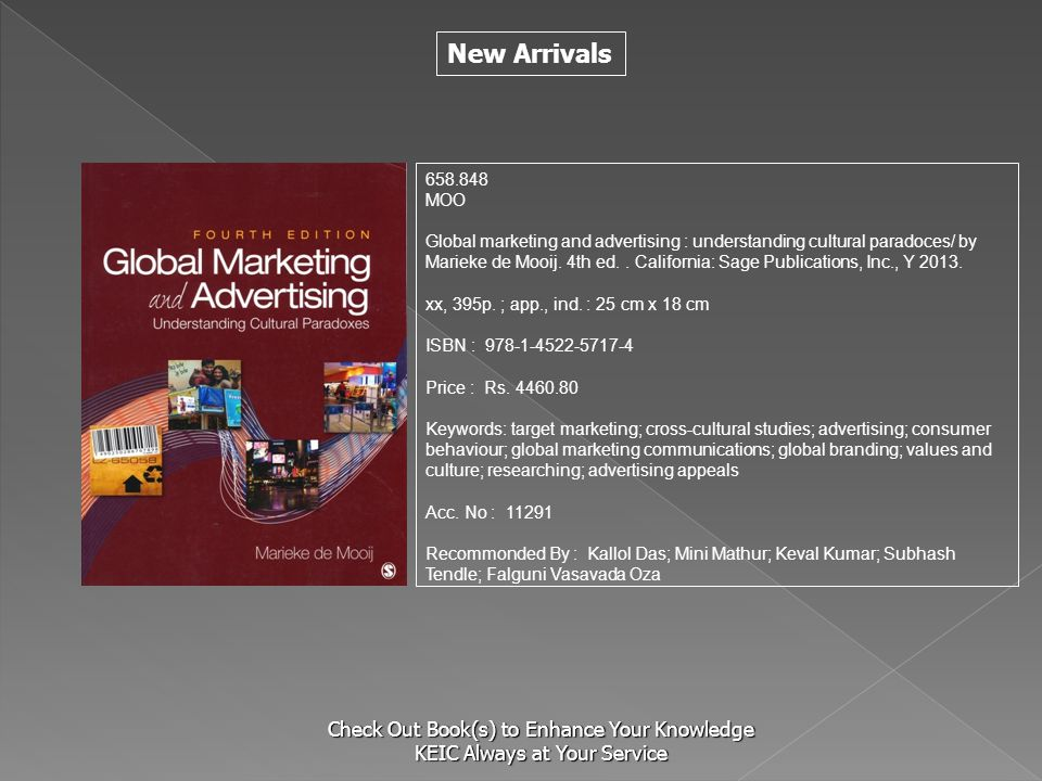 New Arrivals Check Out Book(s) to Enhance Your Knowledge KEIC Always at Your Service 658.848 MOO Global marketing and advertising : understanding cult