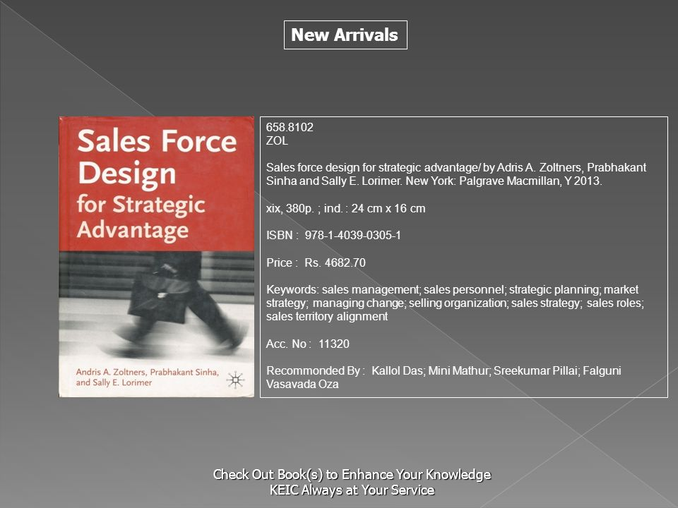 New Arrivals Check Out Book(s) to Enhance Your Knowledge KEIC Always at Your Service 658.8102 ZOL Sales force design for strategic advantage/ by Adris