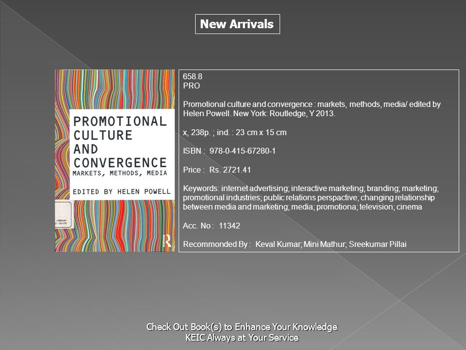 New Arrivals Check Out Book(s) to Enhance Your Knowledge KEIC Always at Your Service 658.8 PRO Promotional culture and convergence : markets, methods,