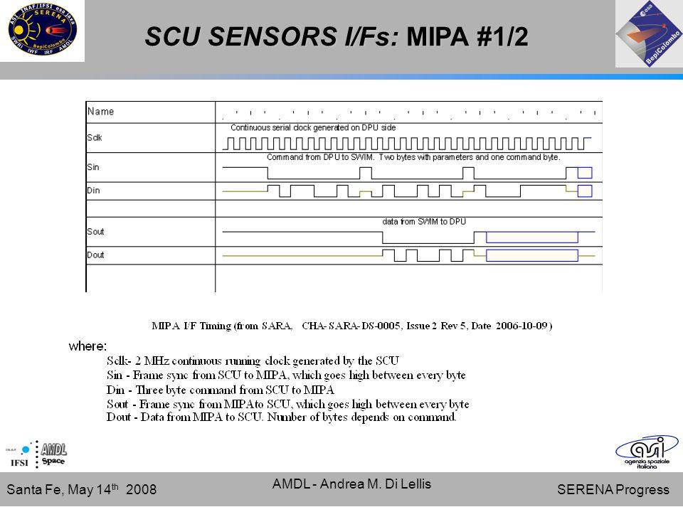 SERENA Progress Santa Fe, May 14 th 2008 AMDL - Andrea M. Di Lellis SCU SENSORS I/Fs: MIPA #1/2