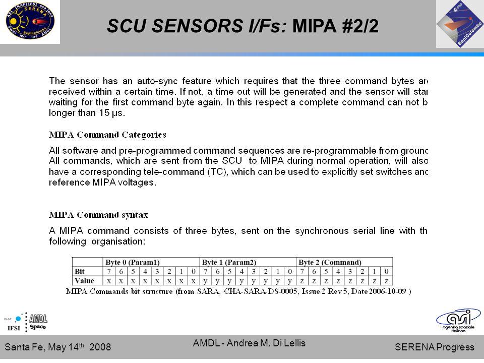 SERENA Progress Santa Fe, May 14 th 2008 AMDL - Andrea M. Di Lellis SCU SENSORS I/Fs: MIPA #2/2