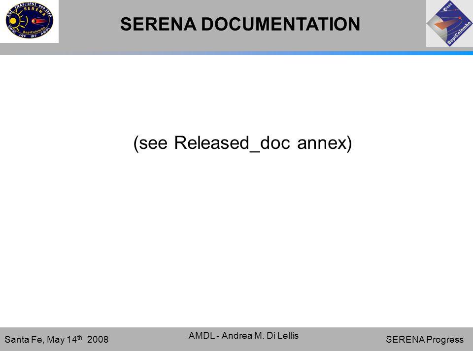 SERENA Progress Santa Fe, May 14 th 2008 AMDL - Andrea M.