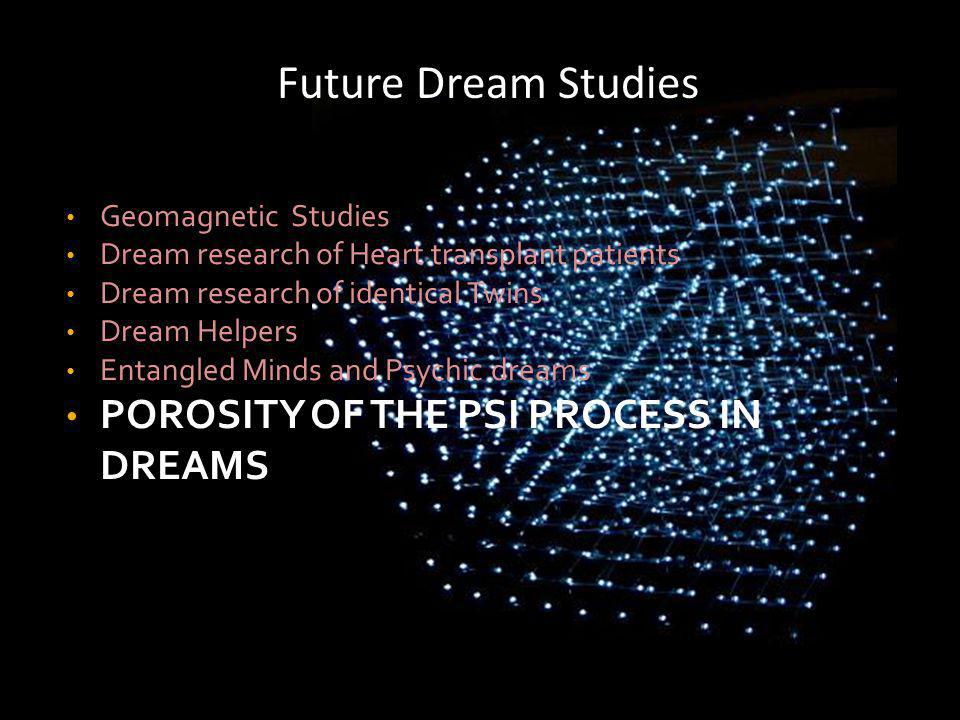 Geomagnetic Studies Dream research of Heart transplant patients Dream research of identical Twins Dream Helpers Entangled Minds and Psychic dreams POROSITY OF THE PSI PROCESS IN DREAMS Future Dream Studies
