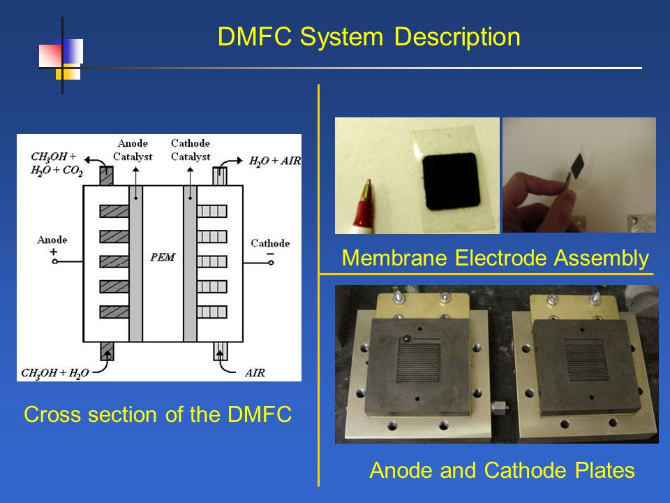DMFC System Description Cross section of the DMFC Membrane Electrode Assembly Anode and Cathode Plates