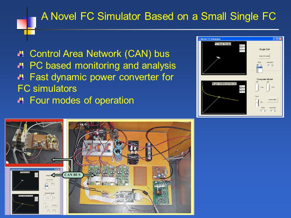 A Novel FC Simulator Based on a Small Single FC Control Area Network (CAN) bus PC based monitoring and analysis Fast dynamic power converter for FC simulators Four modes of operation