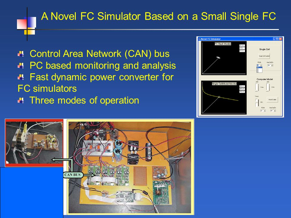 A Novel FC Simulator Based on a Small Single FC Control Area Network (CAN) bus PC based monitoring and analysis Fast dynamic power converter for FC simulators Three modes of operation