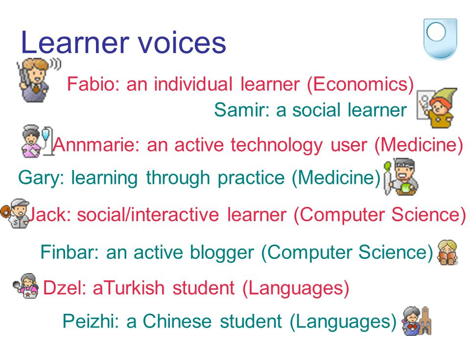 Learner voices Fabio: an individual learner (Economics) Samir: a social learner Annmarie: an active technology user (Medicine) Gary: learning through