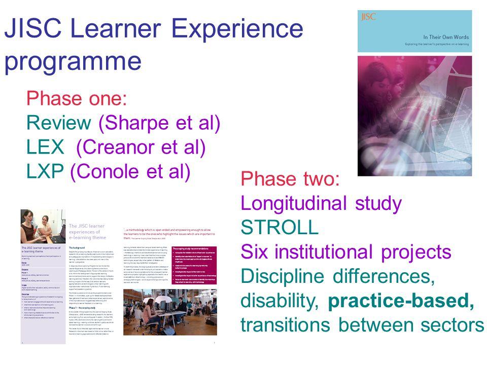 JISC Learner Experience programme Phase one: Review (Sharpe et al) LEX (Creanor et al) LXP (Conole et al) Phase two: Longitudinal study STROLL Six institutional projects Discipline differences, disability, practice-based, transitions between sectors