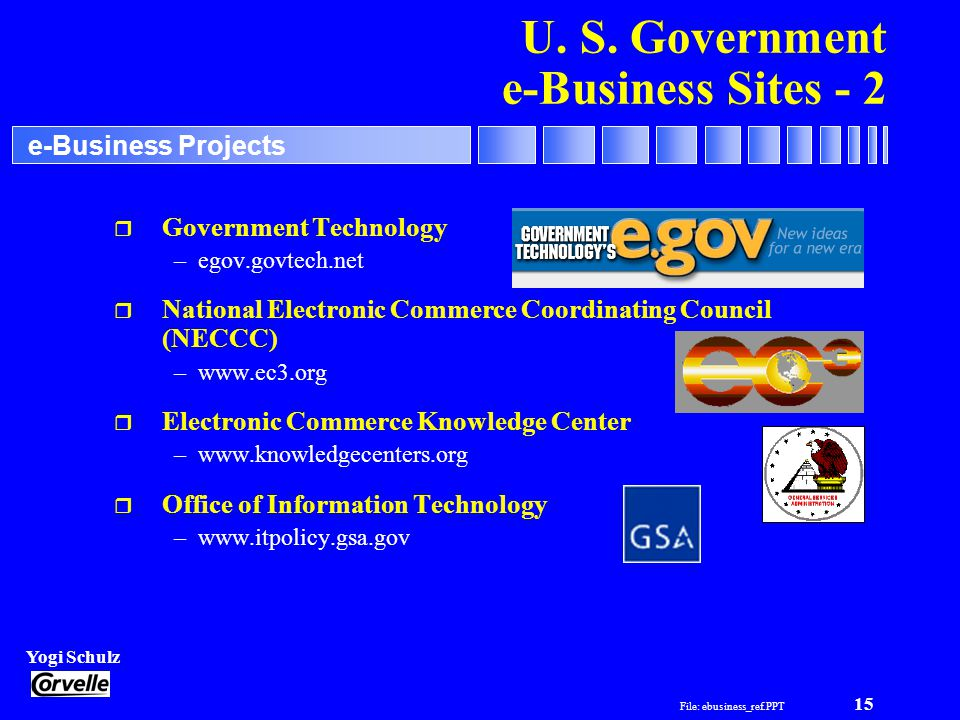 File: ebusiness_ref.PPT 15 Yogi Schulz e-Business Projects r Government Technology –egov.govtech.net r National Electronic Commerce Coordinating Counc