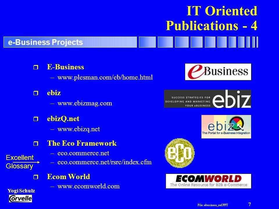File: ebusiness_ref.PPT 7 Yogi Schulz e-Business Projects IT Oriented Publications - 4 r E-Business –www.plesman.com/eb/home.html r ebiz –www.ebizmag.