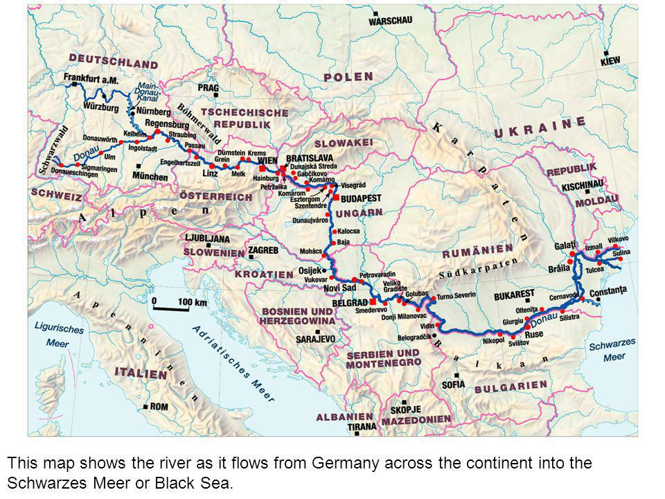 This map shows the river as it flows from Germany across the continent into the Schwarzes Meer or Black Sea.