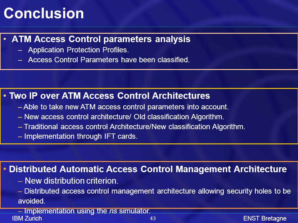 IBM ZurichENST Bretagne 42 Introduction Access Control Parameters Access Control Architectures Access Control Management Conclusion Agenda