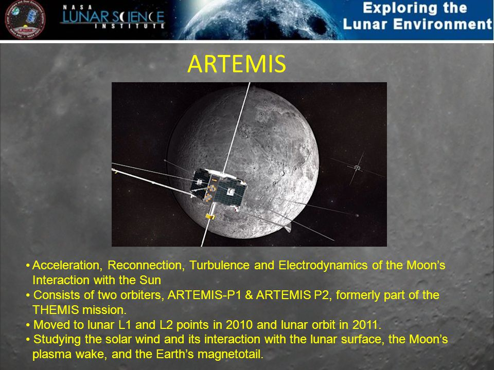 ARTEMIS Acceleration, Reconnection, Turbulence and Electrodynamics of the Moons Interaction with the Sun Consists of two orbiters, ARTEMIS-P1 & ARTEMI