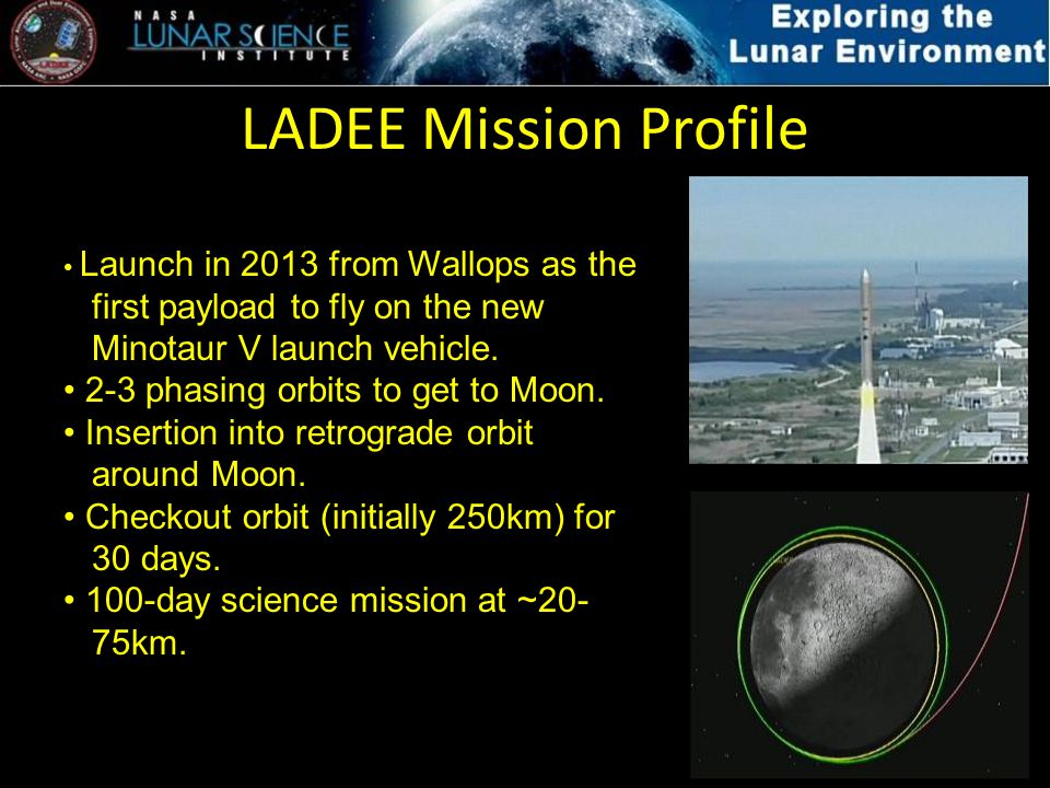 LADEE Mission Profile Launch in 2013 from Wallops as the first payload to fly on the new Minotaur V launch vehicle. 2-3 phasing orbits to get to Moon.