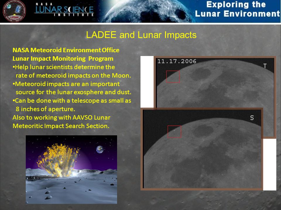 NASA Meteoroid Environment Office Lunar Impact Monitoring Program Help lunar scientists determine the rate of meteoroid impacts on the Moon. Meteoroid