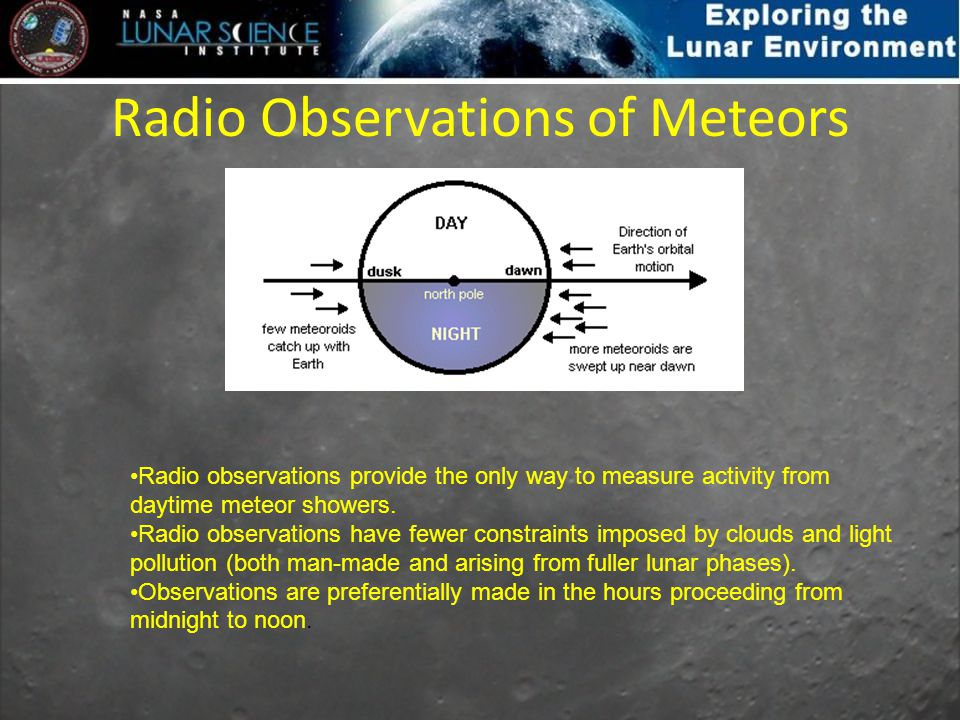 Radio Observations of Meteors Radio observations provide the only way to measure activity from daytime meteor showers. Radio observations have fewer c