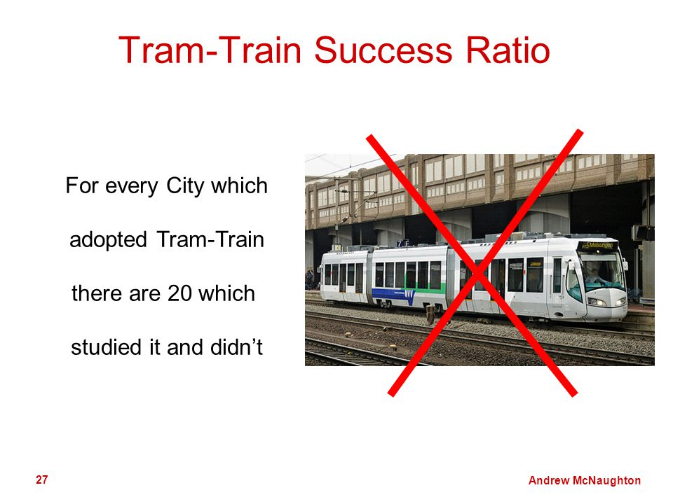 Andrew McNaughton 27 Tram-Train Success Ratio For every City which adopted Tram-Train there are 20 which studied it and didnt