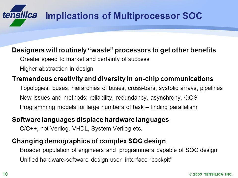 10 © 2003 TENSILICA INC. Implications of Multiprocessor SOC Designers will routinely waste processors to get other benefits Greater speed to market an