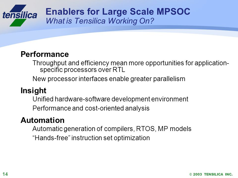 14 © 2003 TENSILICA INC. Enablers for Large Scale MPSOC What is Tensilica Working On? Performance Throughput and efficiency mean more opportunities fo