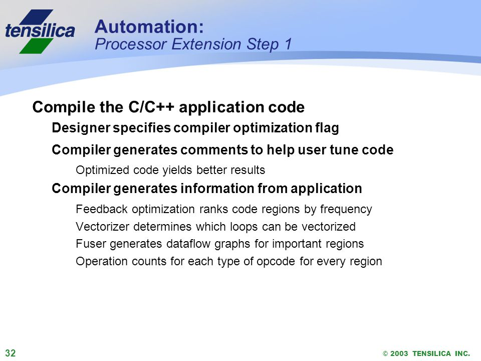 32 © 2003 TENSILICA INC. Automation: Processor Extension Step 1 Compile the C/C++ application code Designer specifies compiler optimization flag Compi