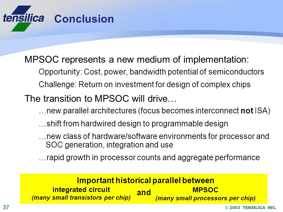 37 © 2003 TENSILICA INC. Conclusion MPSOC represents a new medium of implementation: Opportunity: Cost, power, bandwidth potential of semiconductors C
