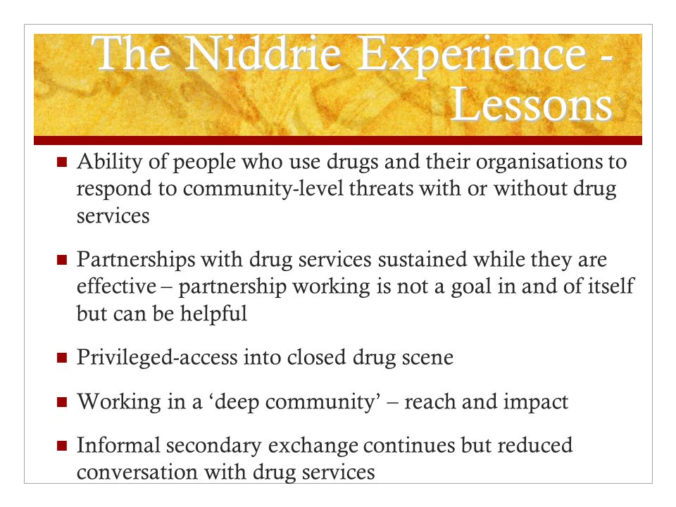 The North East Essex Cautionary Note Mid-1990s - heroin and amphetamine sulphate main drugs of choice with strong injecting profile Given the semi-rural area in the villages and towns around Colchester and Clacton peers, mostly drug suppliers, were engaged to deliver secondary needle exchange Peer programme championed by Community Outreach Worker hosted in Health Promotion Post was re-integrated into drug services when key post holder left losing commitment to secondary needle exchange Police subsequently targeted, arrested and imprisoned most of the supply network involved in scheme