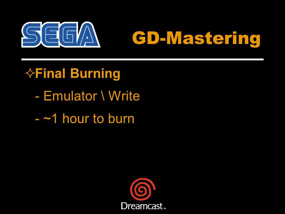 GD-Mastering Final Burning - Emulator \ Write - ~1 hour to burn
