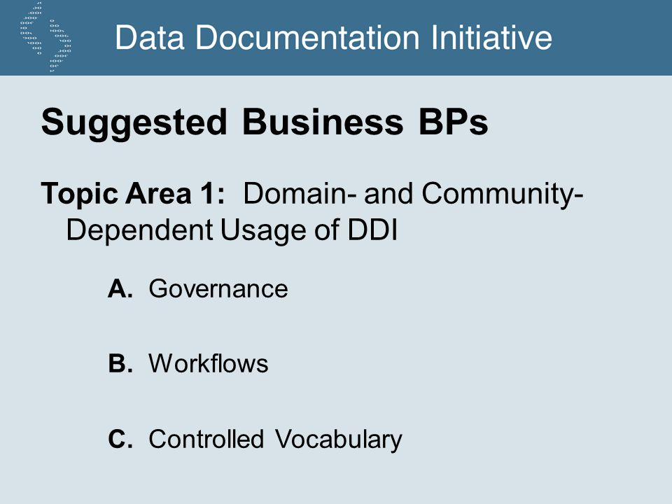 Suggested Business BPs Topic Area 1: Domain- and Community- Dependent Usage of DDI A.