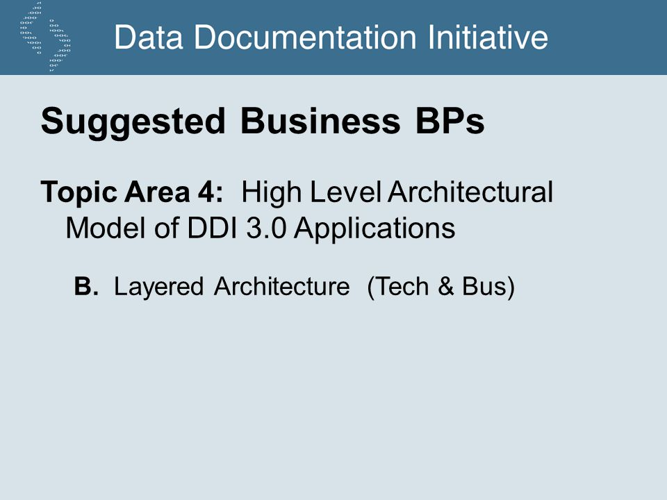 Suggested Business BPs Topic Area 4: High Level Architectural Model of DDI 3.0 Applications B.