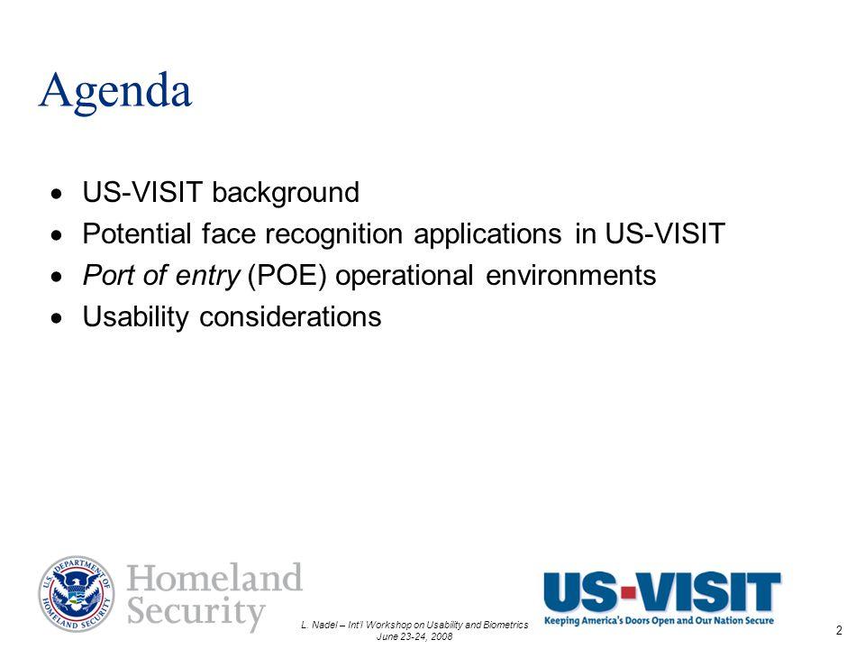 L. Nadel – Intl Workshop on Usability and Biometrics June 23-24, 2008 2 Agenda US-VISIT background Potential face recognition applications in US-VISIT