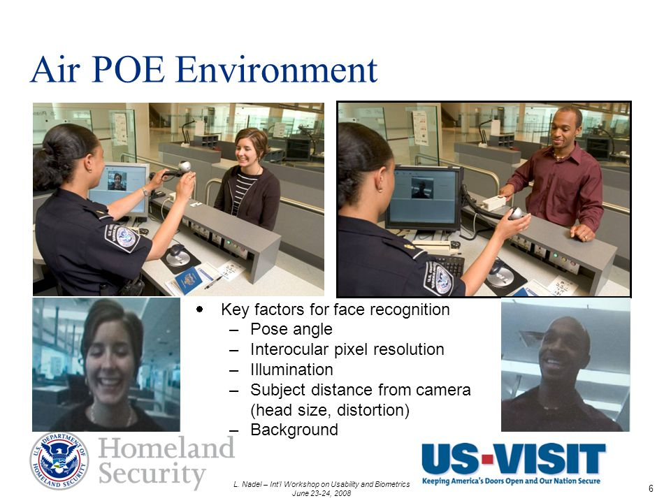 L. Nadel – Intl Workshop on Usability and Biometrics June 23-24, 2008 6 Air POE Environment Key factors for face recognition –Pose angle –Interocular