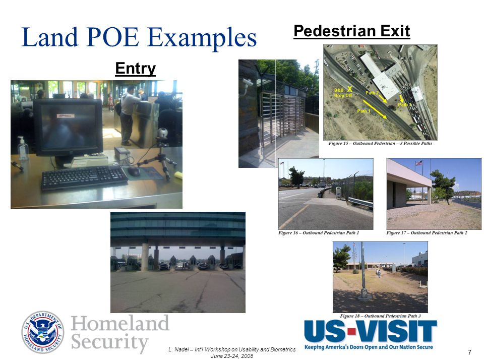 L. Nadel – Intl Workshop on Usability and Biometrics June 23-24, 2008 7 Land POE Examples Pedestrian Exit Entry