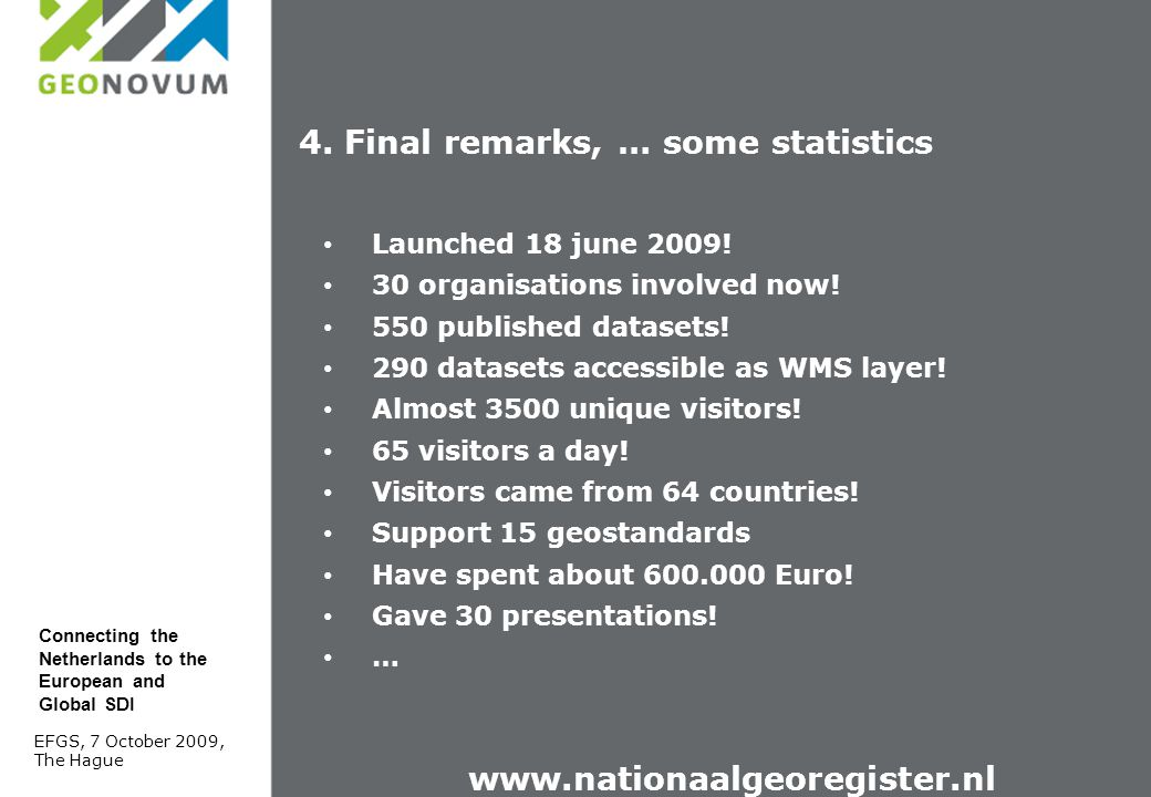 Launched 18 june 2009! 30 organisations involved now! 550 published datasets! 290 datasets accessible as WMS layer! Almost 3500 unique visitors! 65 vi