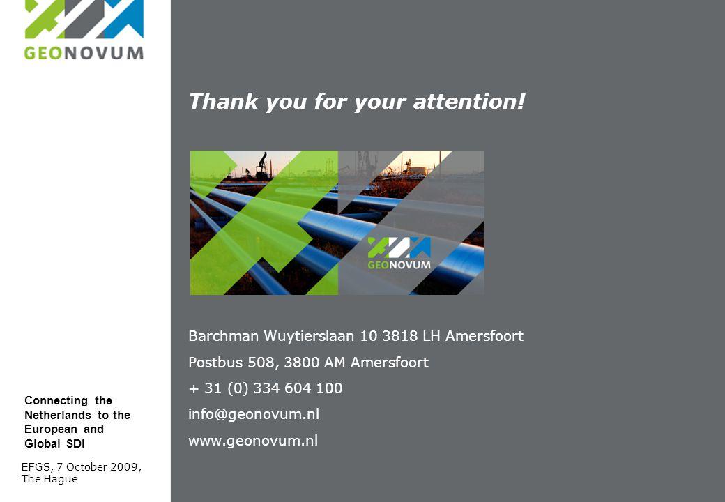 Barchman Wuytierslaan 10 3818 LH Amersfoort Postbus 508, 3800 AM Amersfoort + 31 (0) 334 604 100 info@geonovum.nl www.geonovum.nl Thank you for your attention.