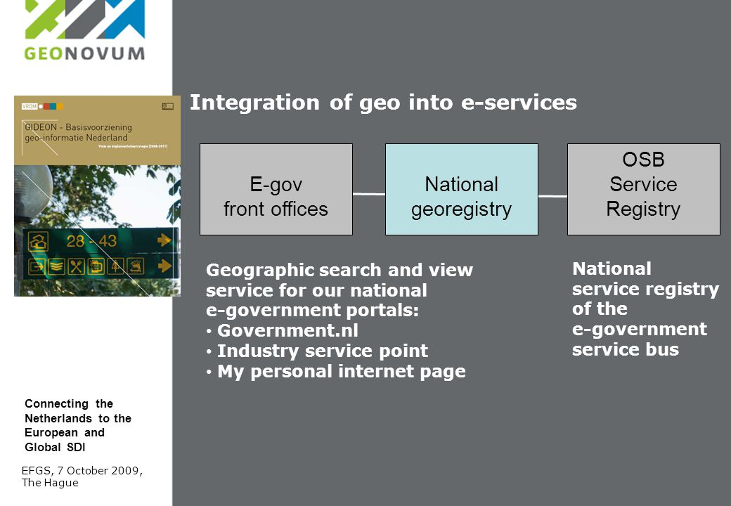 Integration of geo into e-services National georegistry OSB Service Registry E-gov front offices Geographic search and view service for our national e