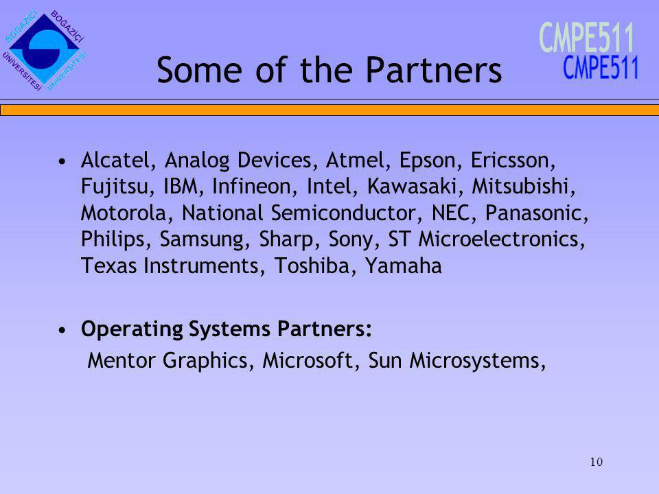 10 Some of the Partners Alcatel, Analog Devices, Atmel, Epson, Ericsson, Fujitsu, IBM, Infineon, Intel, Kawasaki, Mitsubishi, Motorola, National Semiconductor, NEC, Panasonic, Philips, Samsung, Sharp, Sony, ST Microelectronics, Texas Instruments, Toshiba, Yamaha Operating Systems Partners: Mentor Graphics, Microsoft, Sun Microsystems,