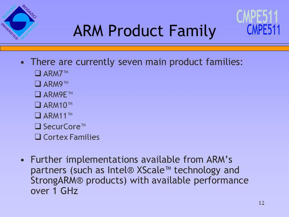 12 ARM Product Family There are currently seven main product families: ARM7 ARM9 ARM9E ARM10 ARM11 SecurCore Cortex Families Further implementations available from ARMs partners (such as Intel® XScale technology and StrongARM® products) with available performance over 1 GHz