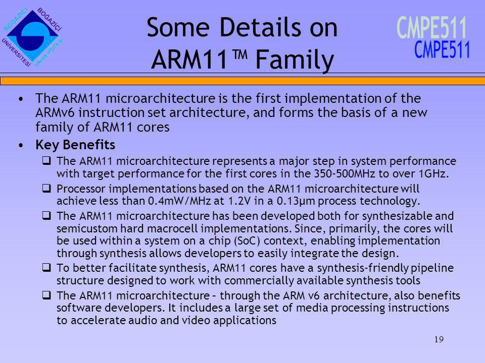 19 The ARM11 microarchitecture is the first implementation of the ARMv6 instruction set architecture, and forms the basis of a new family of ARM11 cores Key Benefits The ARM11 microarchitecture represents a major step in system performance with target performance for the first cores in the 350-500MHz to over 1GHz.