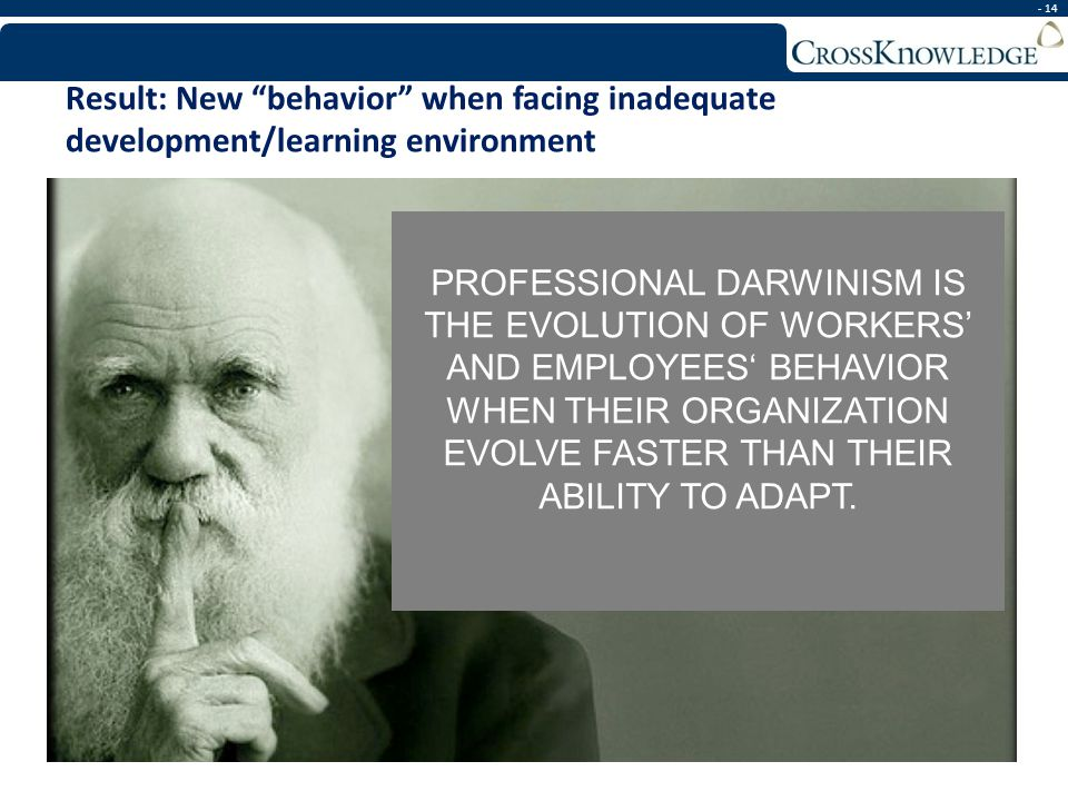 - 14 Result: New behavior when facing inadequate development/learning environment PROFESSIONAL DARWINISM IS THE EVOLUTION OF WORKERS AND EMPLOYEES BEH