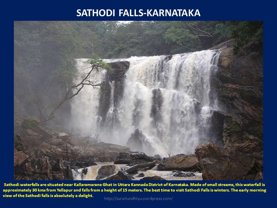 SATHODI FALLS-KARNATAKA Sathodi waterfalls are situated near Kallaramarane Ghat in Uttara Kannada District of Karnataka. Made of small streams, this w