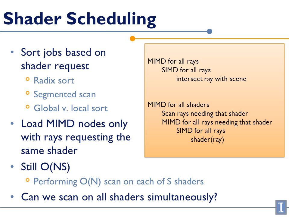 Shader Scheduling Sort jobs based on shader request ° Radix sort ° Segmented scan ° Global v. local sort Load MIMD nodes only with rays requesting the