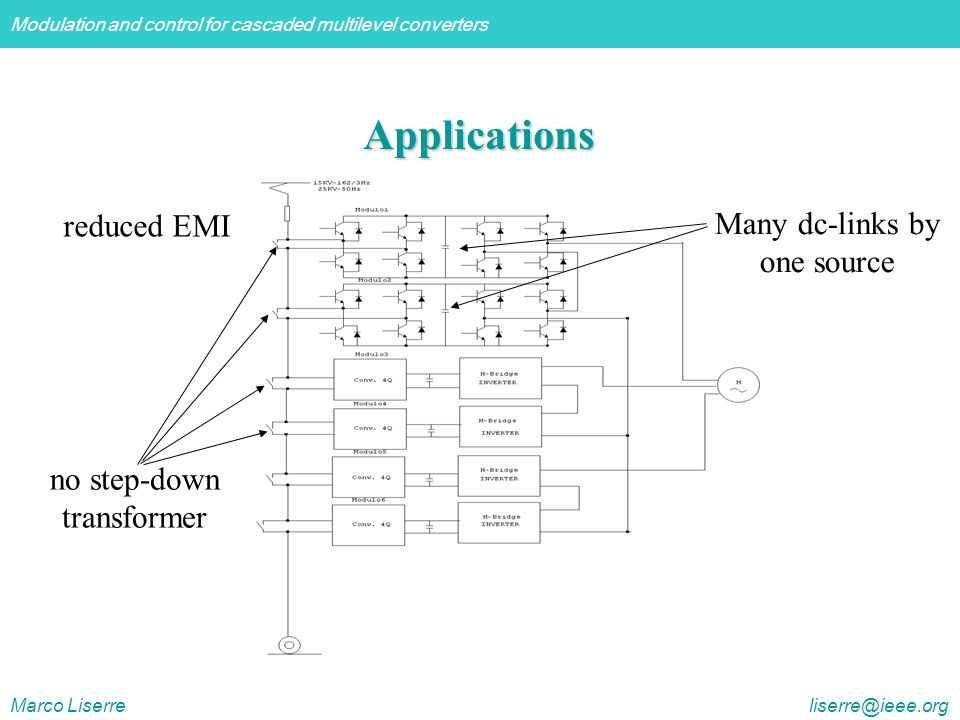 Modulation and control for cascaded multilevel converters Marco Liserre liserre@ieee.org reduced EMI Many dc-links by one source no step-down transformer Applications