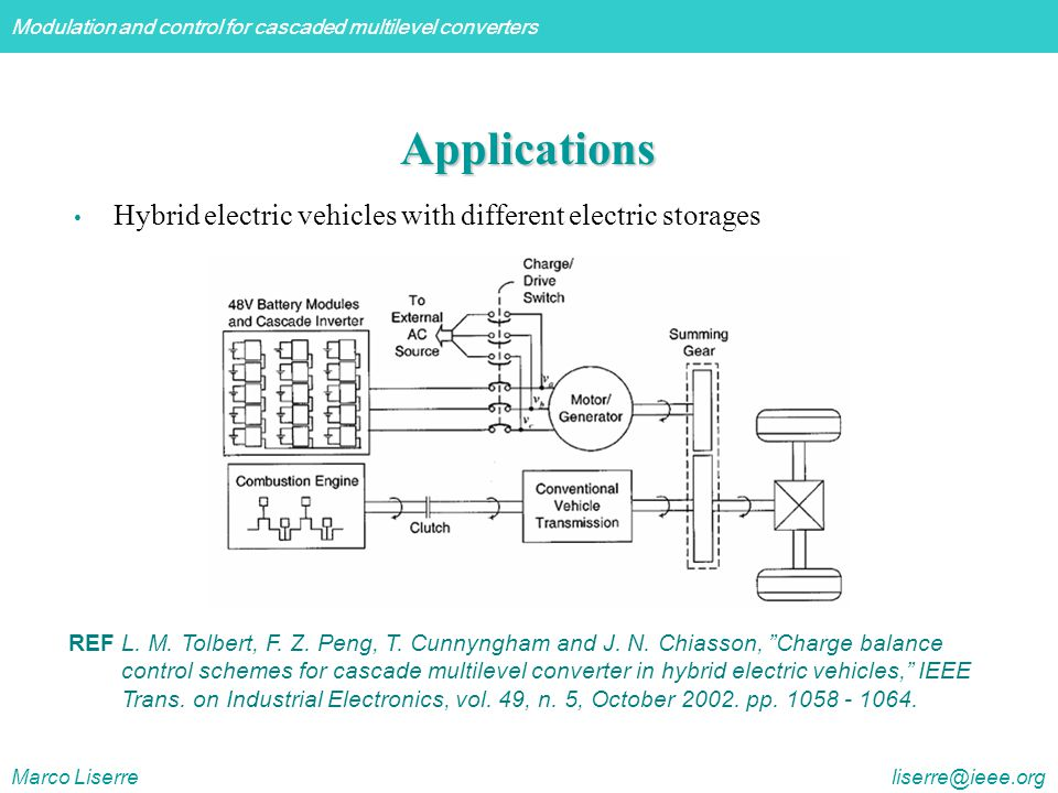Modulation and control for cascaded multilevel converters Marco Liserre liserre@ieee.org Applications Hybrid electric vehicles with different electric storages REF L.