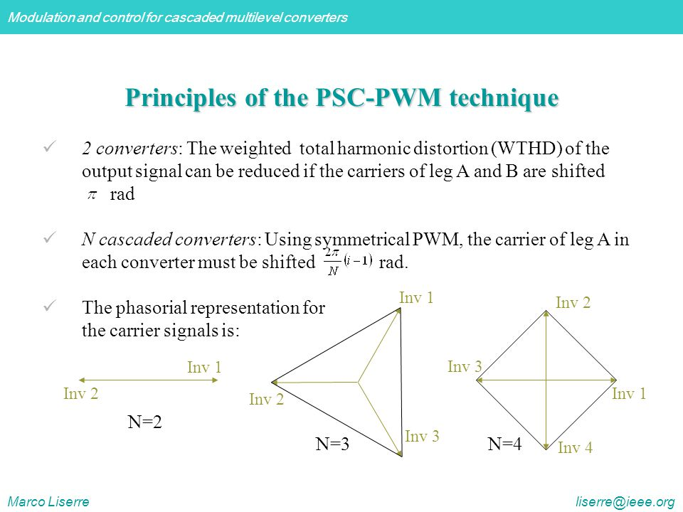 Modulation and control for cascaded multilevel converters Marco Liserre liserre@ieee.org Principles of the PSC-PWM technique 2 converters: The weighted total harmonic distortion (WTHD) of the output signal can be reduced if the carriers of leg A and B are shifted rad N cascaded converters: Using symmetrical PWM, the carrier of leg A in each converter must be shifted rad.
