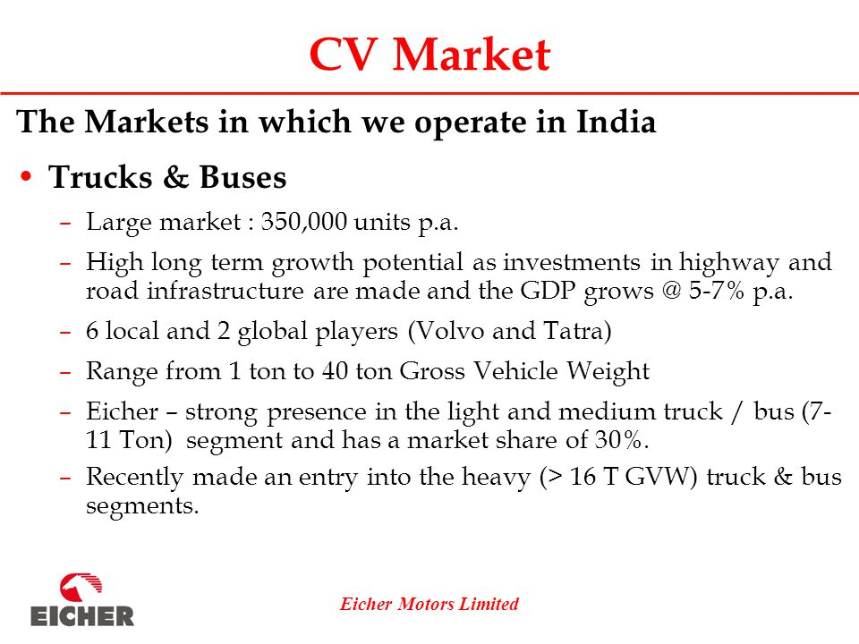 Eicher Motors Limited CV Market The Markets in which we operate in India Trucks & Buses –Large market : 350,000 units p.a.