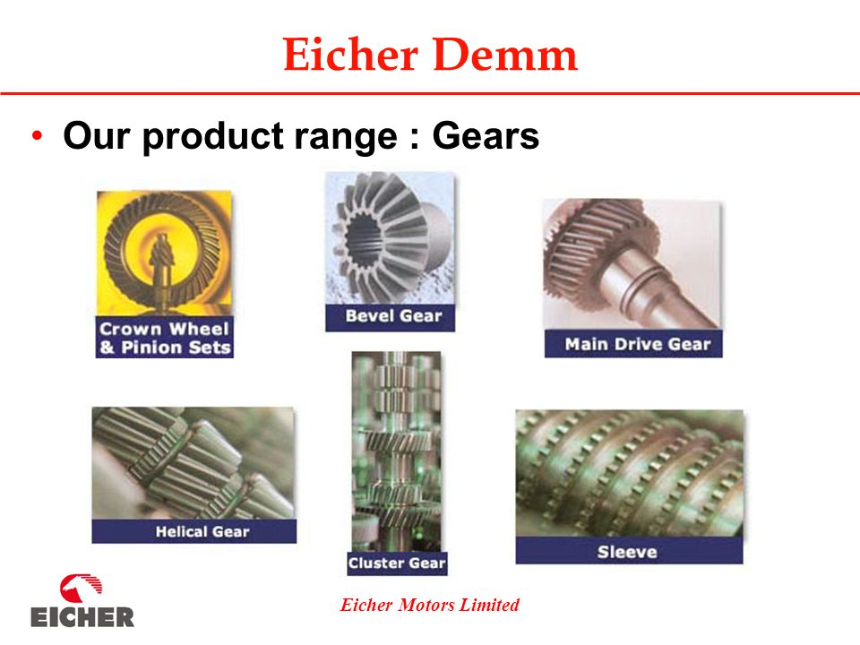 Eicher Motors Limited Our product range : Gears Eicher Demm