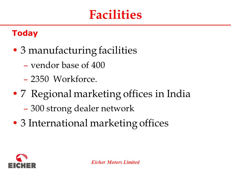 Eicher Motors Limited Facilities Today 3 manufacturing facilities –vendor base of 400 –2350 Workforce.