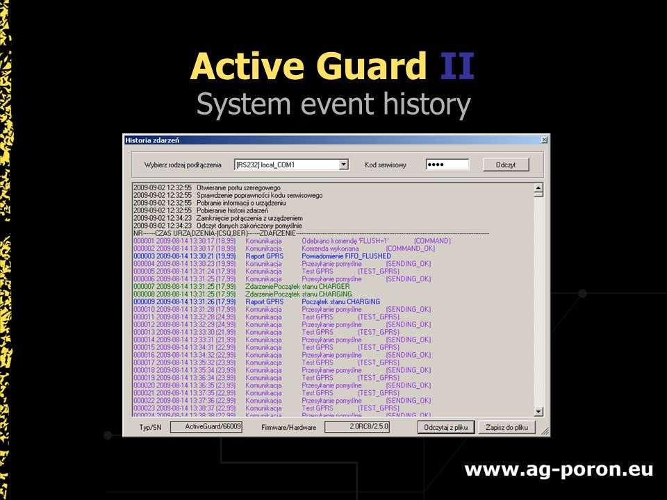 System event history Active Guard II