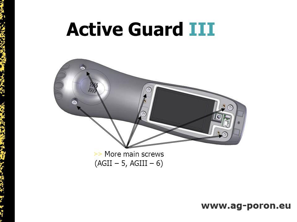 UNITED KINGDOM Active Guard III >> More main screws (AGII – 5, AGIII – 6)